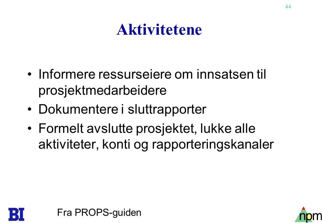 44 Aktivitetene Informere ressurseiere om innsatsen til prosjektmedarbeidere Dokumentere i sluttrapporter Formelt avslutte prosjektet, lukke alle akti