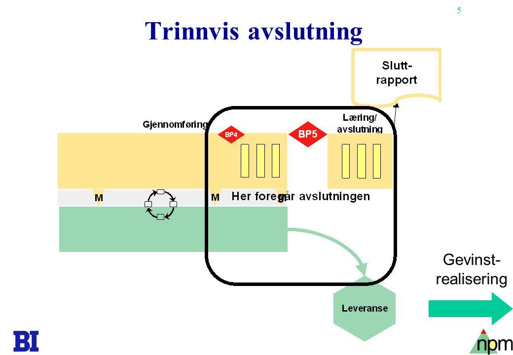 5 Trinnvis avslutning Gevinst- realisering