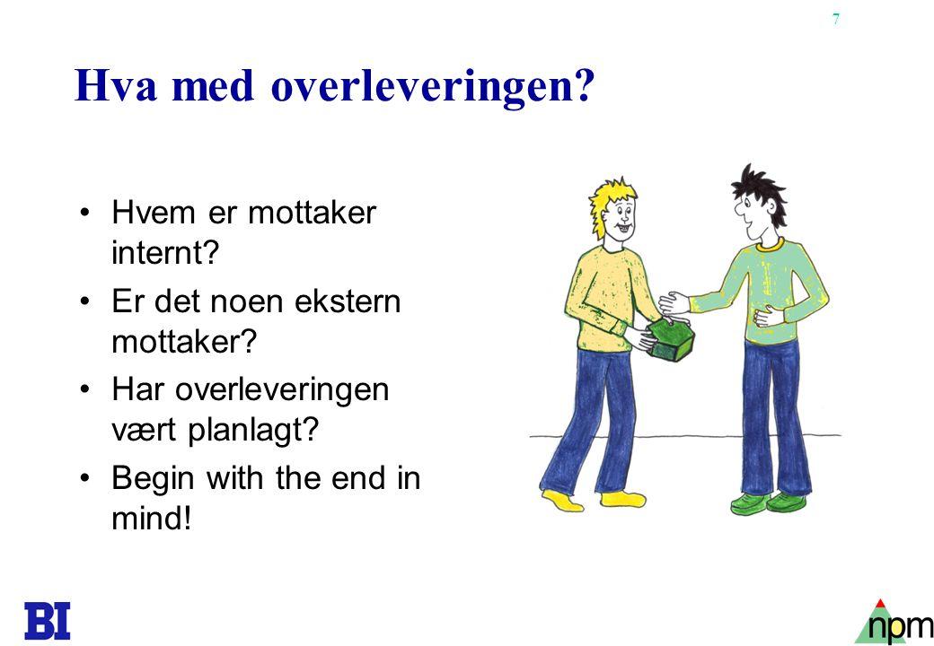 18 Finansielle vurderinger av gevinsten Kontantstrømsanalyse Nåverdi Internrente Tilbakebetalingstid Nytte/kost