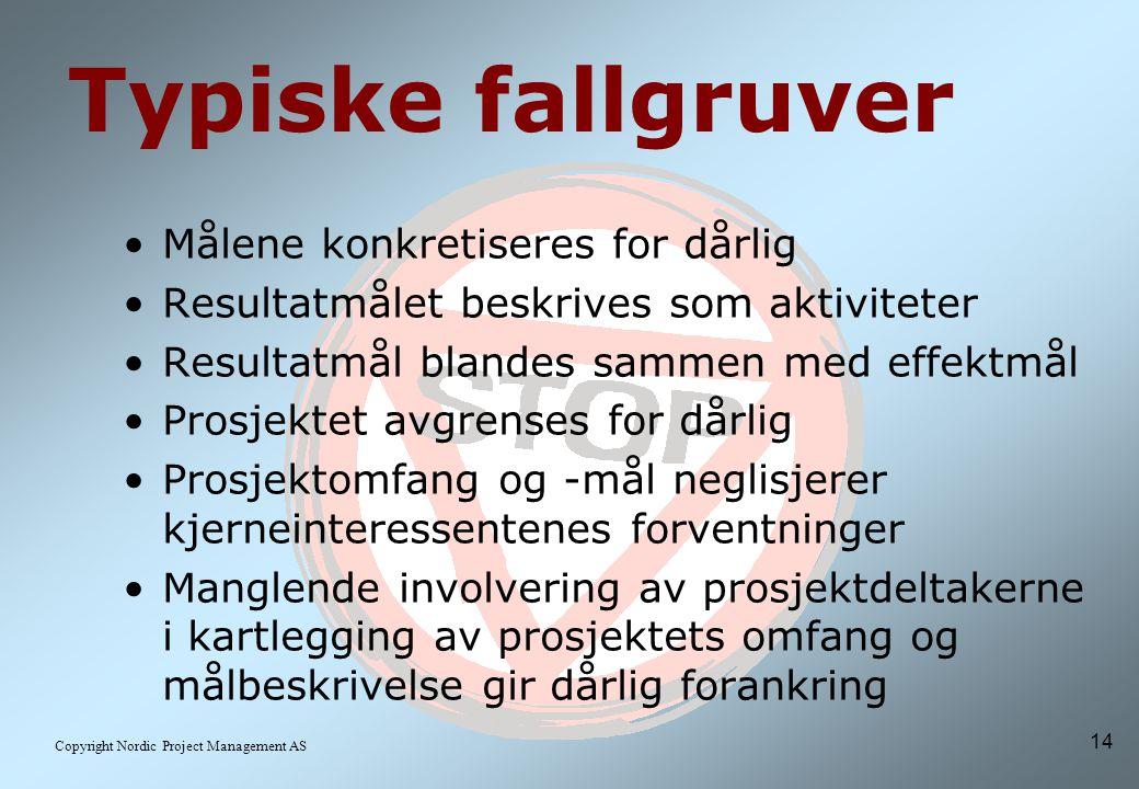 14 Copyright Nordic Project Management AS Typiske fallgruver Målene konkretiseres for dårlig Resultatmålet beskrives som aktiviteter Resultatmål blandes sammen med effektmål Prosjektet avgrenses for dårlig Prosjektomfang og -mål neglisjerer kjerneinteressentenes forventninger Manglende involvering av prosjektdeltakerne i kartlegging av prosjektets omfang og målbeskrivelse gir dårlig forankring