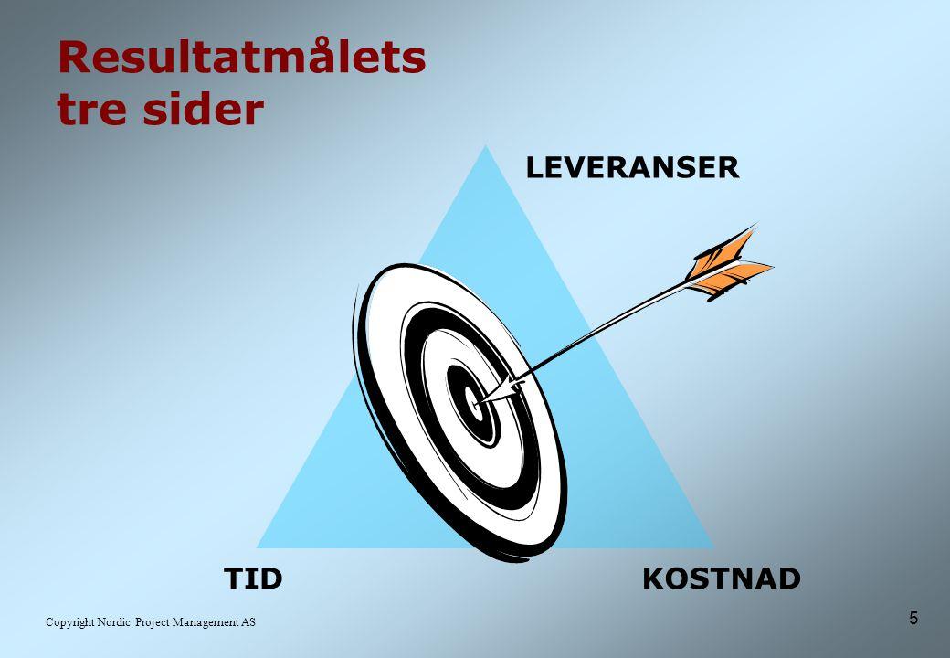 5 Copyright Nordic Project Management AS Resultatmålets tre sider LEVERANSER TIDKOSTNAD