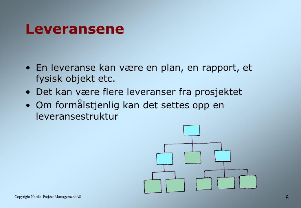 8 Copyright Nordic Project Management AS Leveransene En leveranse kan være en plan, en rapport, et fysisk objekt etc.