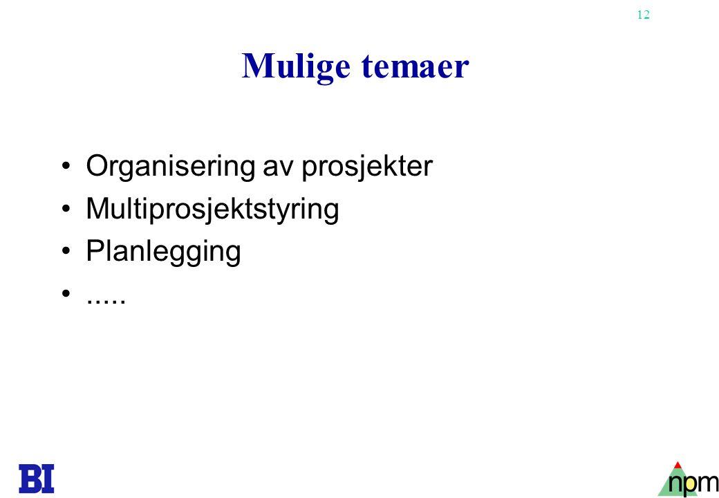 12 Mulige temaer Organisering av prosjekter Multiprosjektstyring Planlegging.....