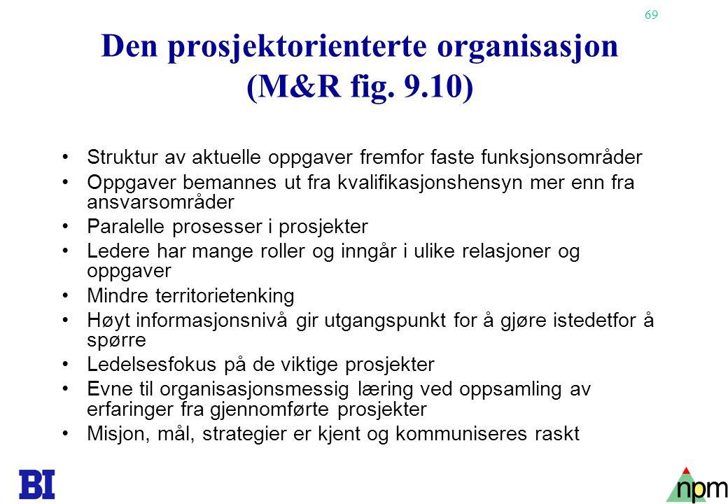 69 Den prosjektorienterte organisasjon (M&R fig. 9.10) Struktur av aktuelle oppgaver fremfor faste funksjonsområder Oppgaver bemannes ut fra kvalifika