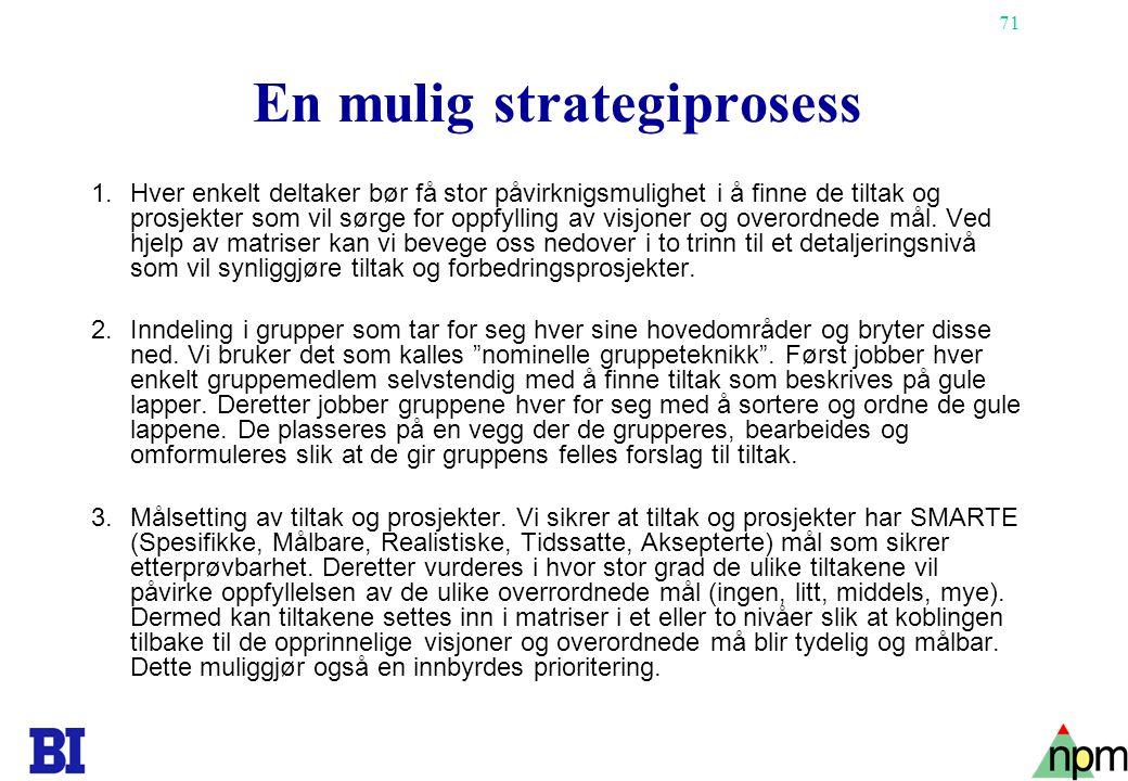 71 En mulig strategiprosess 1.Hver enkelt deltaker bør få stor påvirknigsmulighet i å finne de tiltak og prosjekter som vil sørge for oppfylling av vi