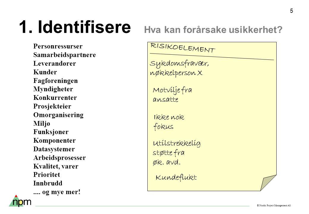 © Nordic Project Management AS 5 1. Identifisere Hva kan forårsake usikkerhet? Personressurser Samarbeidspartnere Leverandører Kunder Fagforeningen My