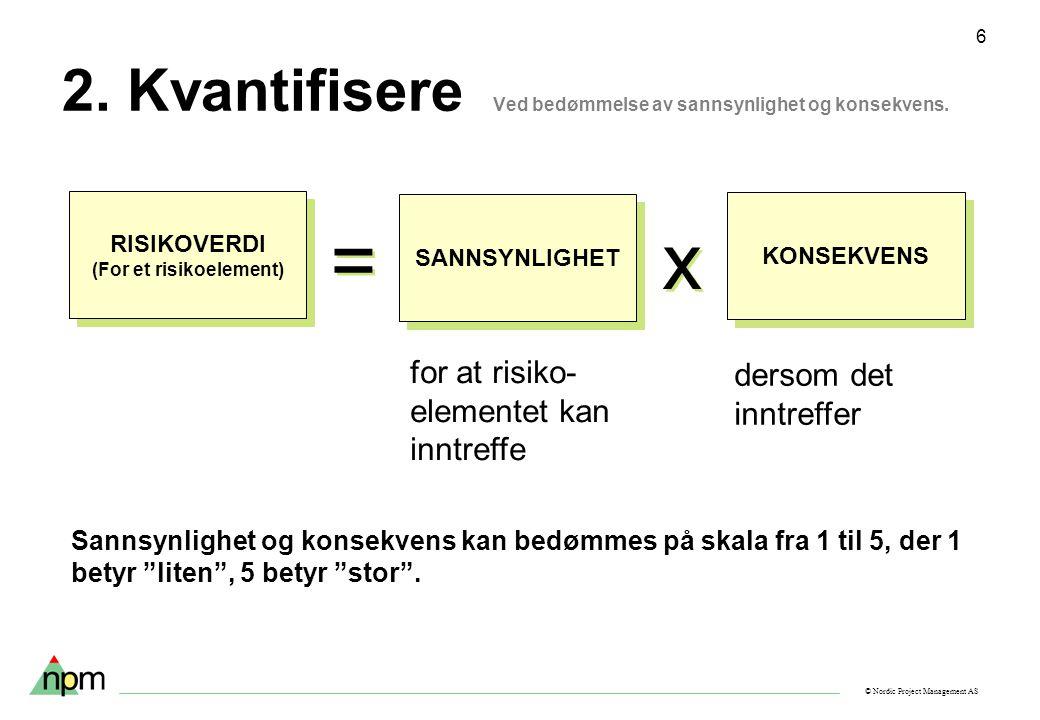 © Nordic Project Management AS 6 2. Kvantifisere Ved bedømmelse av sannsynlighet og konsekvens. for at risiko- elementet kan inntreffe dersom det innt