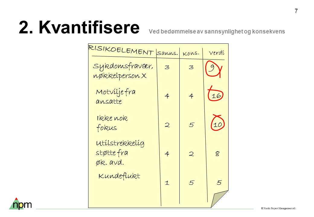 © Nordic Project Management AS 7 2. Kvantifisere Ved bedømmelse av sannsynlighet og konsekvens RISIKOELEMENT Sanns. Kons. Verdi Sykdomsfravær, nøkkelp