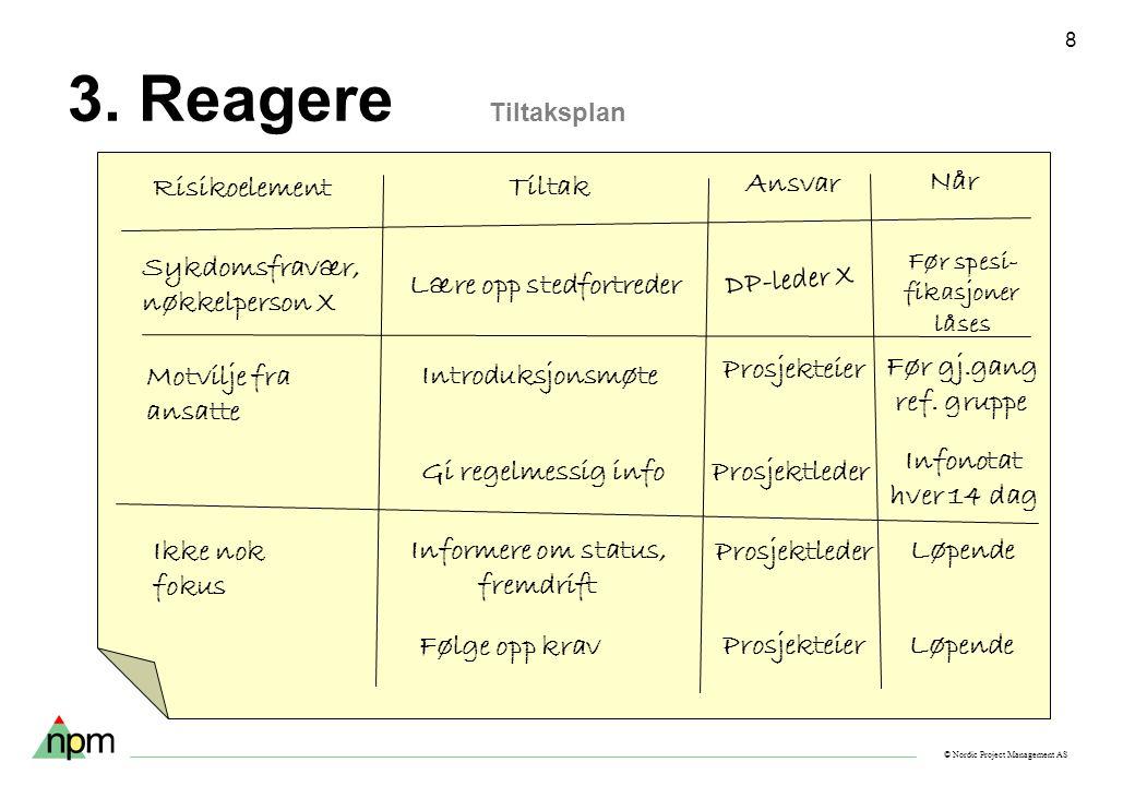 © Nordic Project Management AS 8 3. Reagere Tiltaksplan Sykdomsfravær, nøkkelperson X Motvilje fra ansatte Ikke nok fokus Risikoelement Tiltak Ansvar