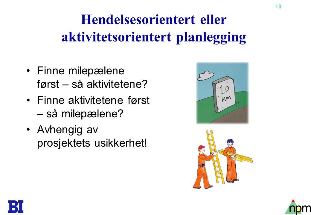 18 Hendelsesorientert eller aktivitetsorientert planlegging Finne milepælene først – så aktivitetene? Finne aktivitetene først – så milepælene? Avheng