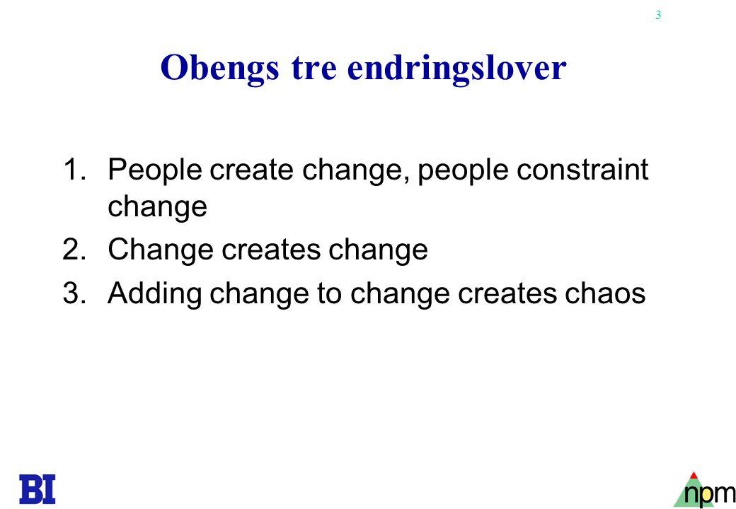 3 Obengs tre endringslover 1.People create change, people constraint change 2.Change creates change 3.Adding change to change creates chaos