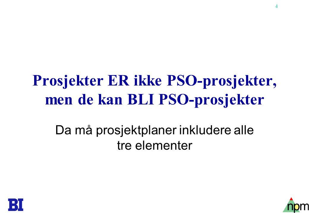 4 Prosjekter ER ikke PSO-prosjekter, men de kan BLI PSO-prosjekter Da må prosjektplaner inkludere alle tre elementer