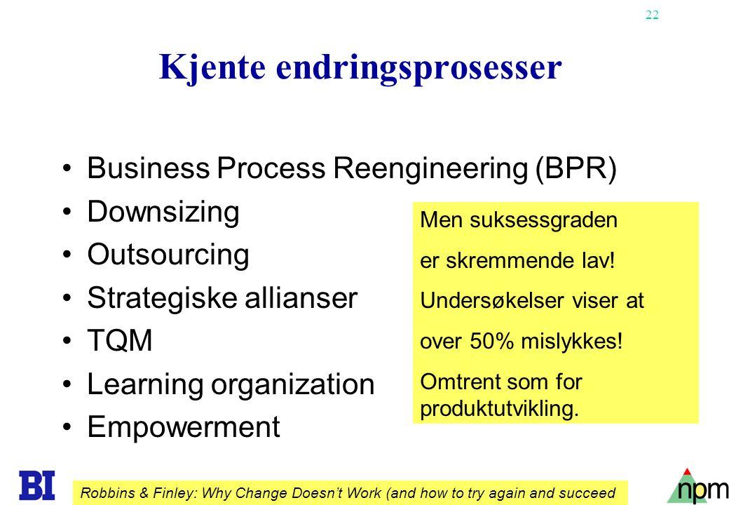 22 Kjente endringsprosesser Business Process Reengineering (BPR) Downsizing Outsourcing Strategiske allianser TQM Learning organization Empowerment Me