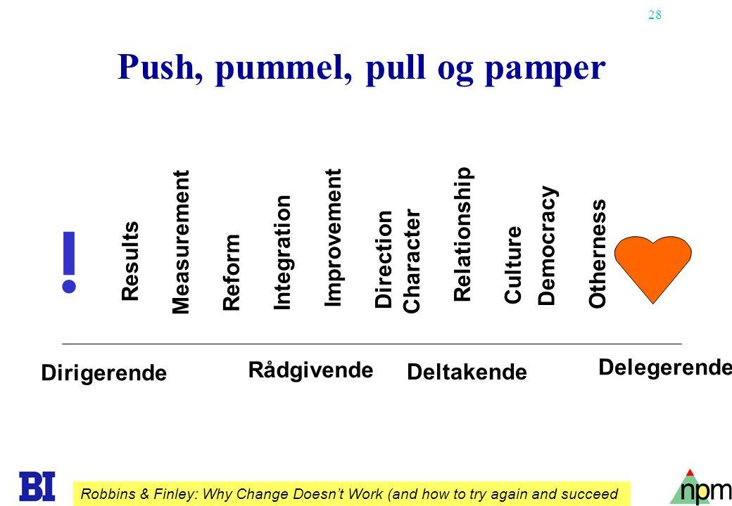 28 Push, pummel, pull og pamper Relationship Results Measurement Reform Integration Improvement Direction Character Democracy Otherness Dirigerende Rå