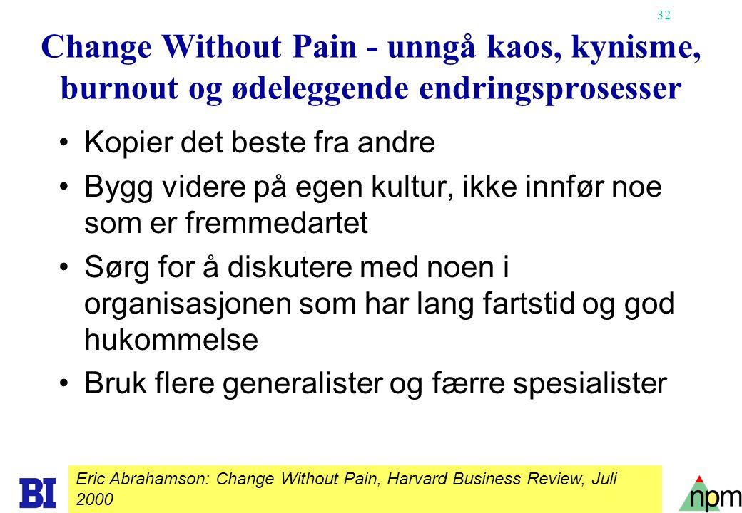 32 Change Without Pain - unngå kaos, kynisme, burnout og ødeleggende endringsprosesser Kopier det beste fra andre Bygg videre på egen kultur, ikke inn