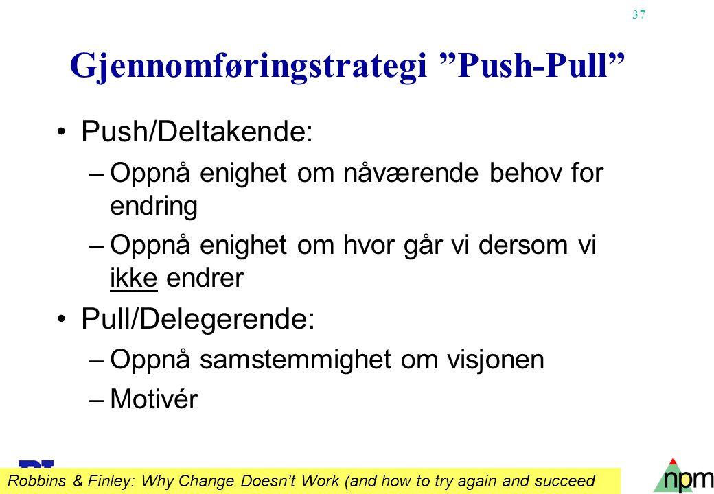 """37 Gjennomføringstrategi """"Push-Pull"""" Push/Deltakende: –Oppnå enighet om nåværende behov for endring –Oppnå enighet om hvor går vi dersom vi ikke endre"""