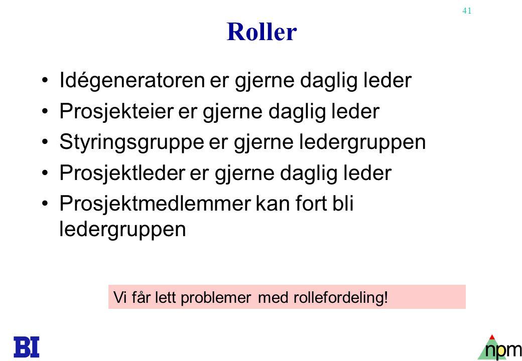 41 Roller Idégeneratoren er gjerne daglig leder Prosjekteier er gjerne daglig leder Styringsgruppe er gjerne ledergruppen Prosjektleder er gjerne dagl