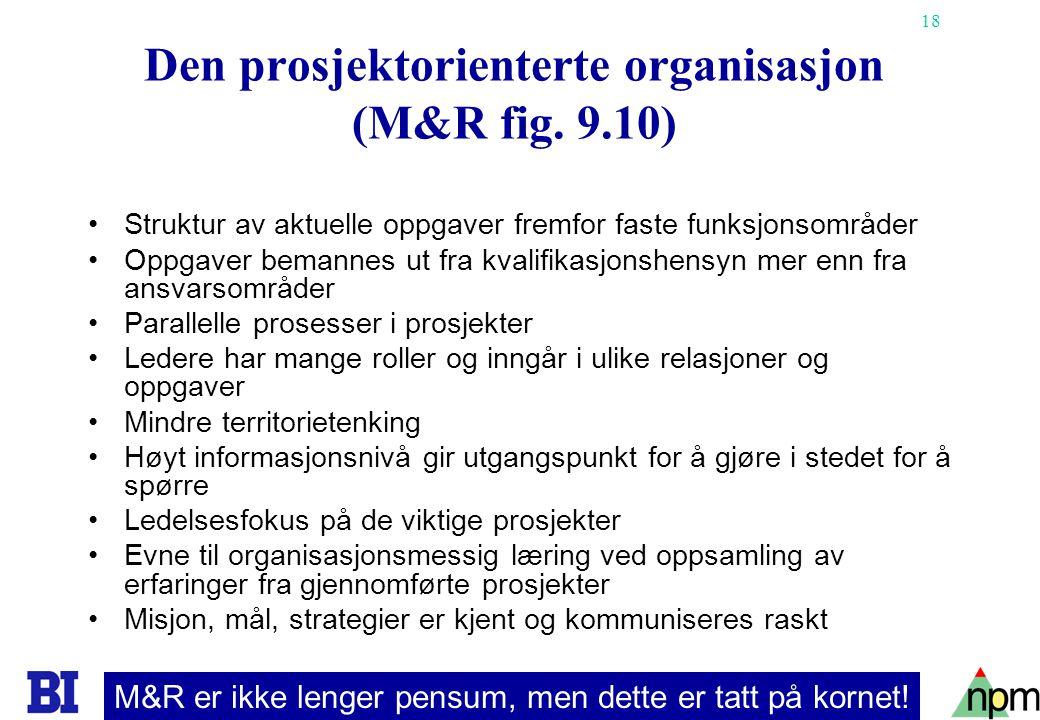 18 Den prosjektorienterte organisasjon (M&R fig. 9.10) Struktur av aktuelle oppgaver fremfor faste funksjonsområder Oppgaver bemannes ut fra kvalifika