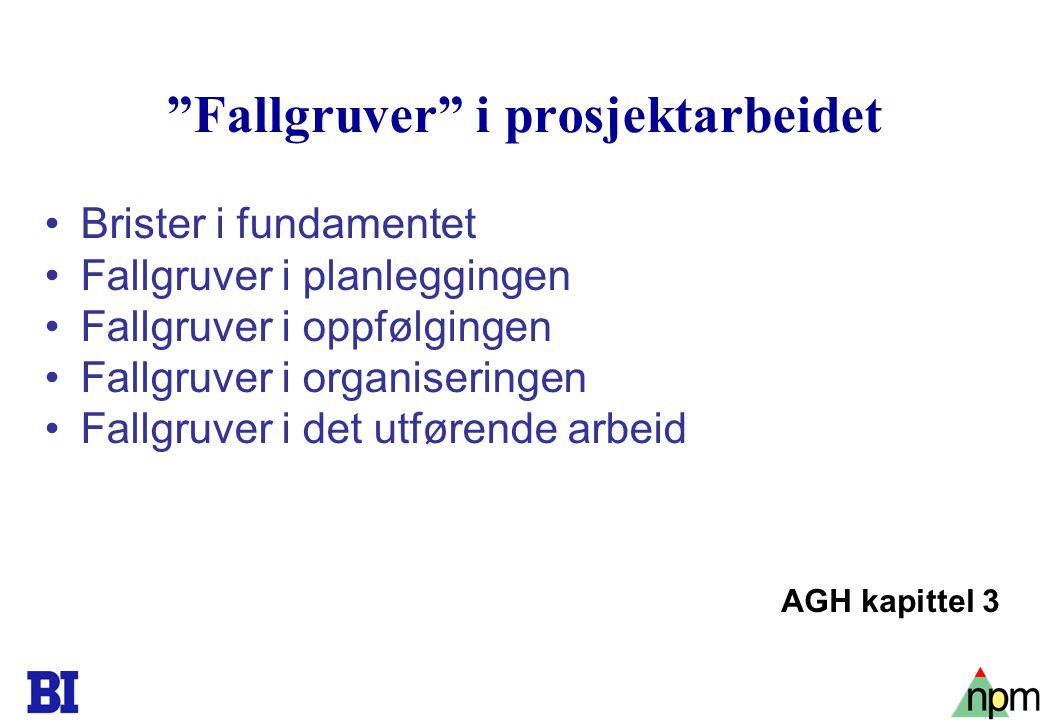 "18 ""Fallgruver"" i prosjektarbeidet Brister i fundamentet Fallgruver i planleggingen Fallgruver i oppfølgingen Fallgruver i organiseringen Fallgruver i"