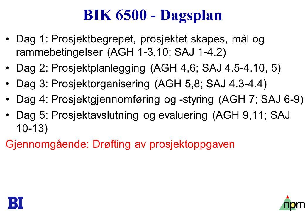 3 BIK 6500 - Dagsplan Dag 1: Prosjektbegrepet, prosjektet skapes, mål og rammebetingelser (AGH 1-3,10; SAJ 1-4.2) Dag 2: Prosjektplanlegging (AGH 4,6; SAJ 4.5-4.10, 5) Dag 3: Prosjektorganisering (AGH 5,8; SAJ 4.3-4.4) Dag 4: Prosjektgjennomføring og -styring (AGH 7; SAJ 6-9) Dag 5: Prosjektavslutning og evaluering (AGH 9,11; SAJ 10-13) Gjennomgående: Drøfting av prosjektoppgaven