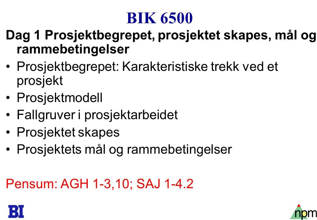 4 BIK 6500 Dag 1 Prosjektbegrepet, prosjektet skapes, mål og rammebetingelser Prosjektbegrepet: Karakteristiske trekk ved et prosjekt Prosjektmodell F