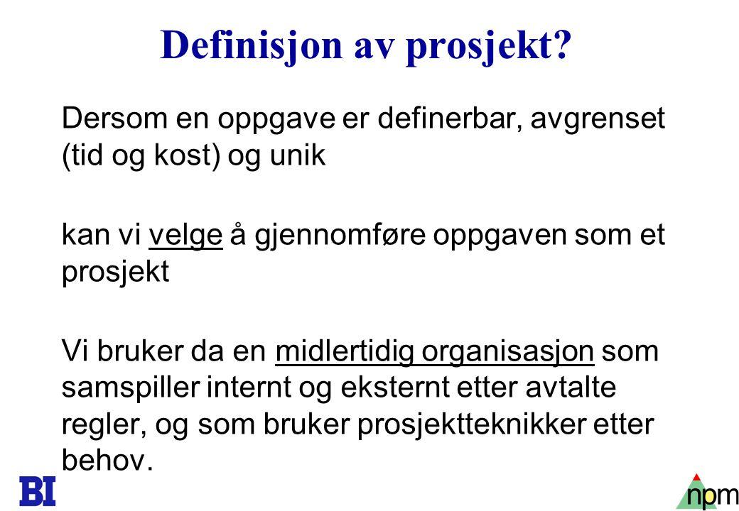 6 Definisjon av prosjekt.