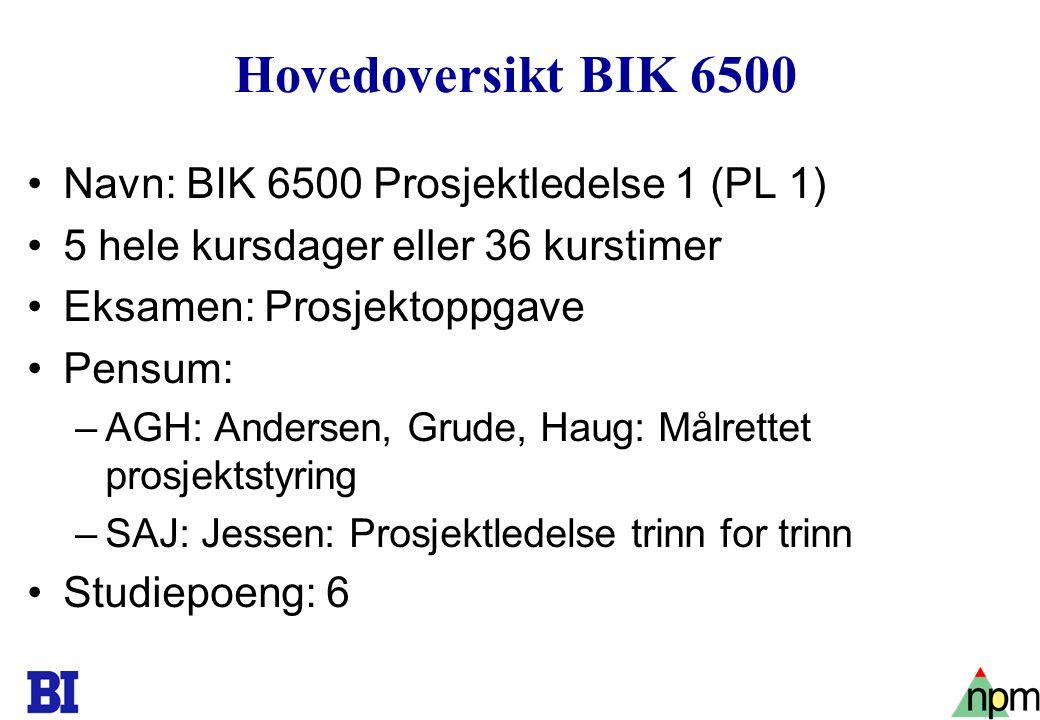 2 Hovedoversikt BIK 6500 Navn: BIK 6500 Prosjektledelse 1 (PL 1) 5 hele kursdager eller 36 kurstimer Eksamen: Prosjektoppgave Pensum: –AGH: Andersen,