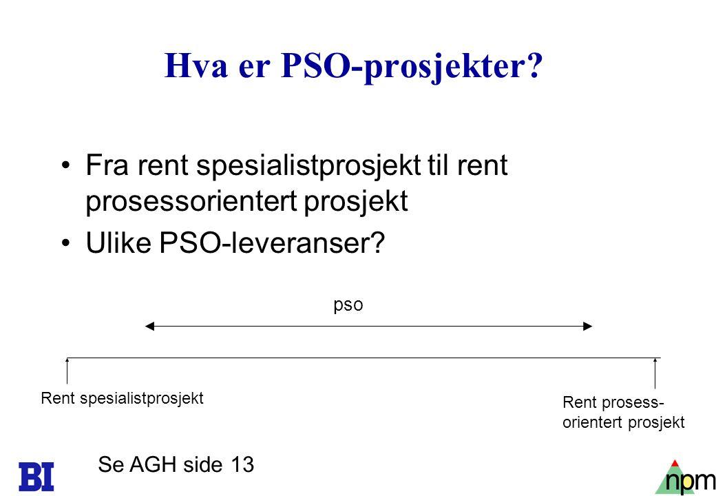 22 Hva er PSO-prosjekter? Fra rent spesialistprosjekt til rent prosessorientert prosjekt Ulike PSO-leveranser? Rent spesialistprosjekt Rent prosess- o