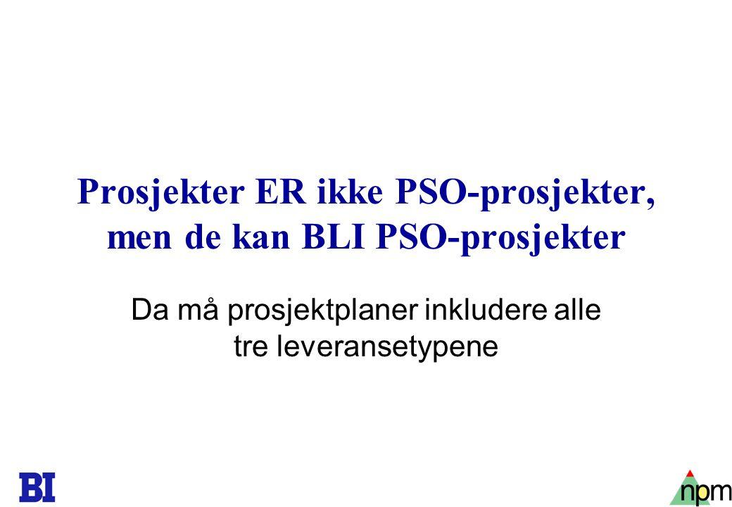 23 Prosjekter ER ikke PSO-prosjekter, men de kan BLI PSO-prosjekter Da må prosjektplaner inkludere alle tre leveransetypene