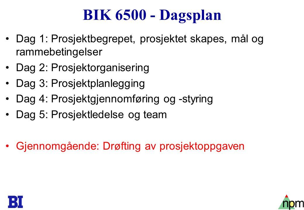3 BIK 6500 - Dagsplan Dag 1: Prosjektbegrepet, prosjektet skapes, mål og rammebetingelser Dag 2: Prosjektorganisering Dag 3: Prosjektplanlegging Dag 4