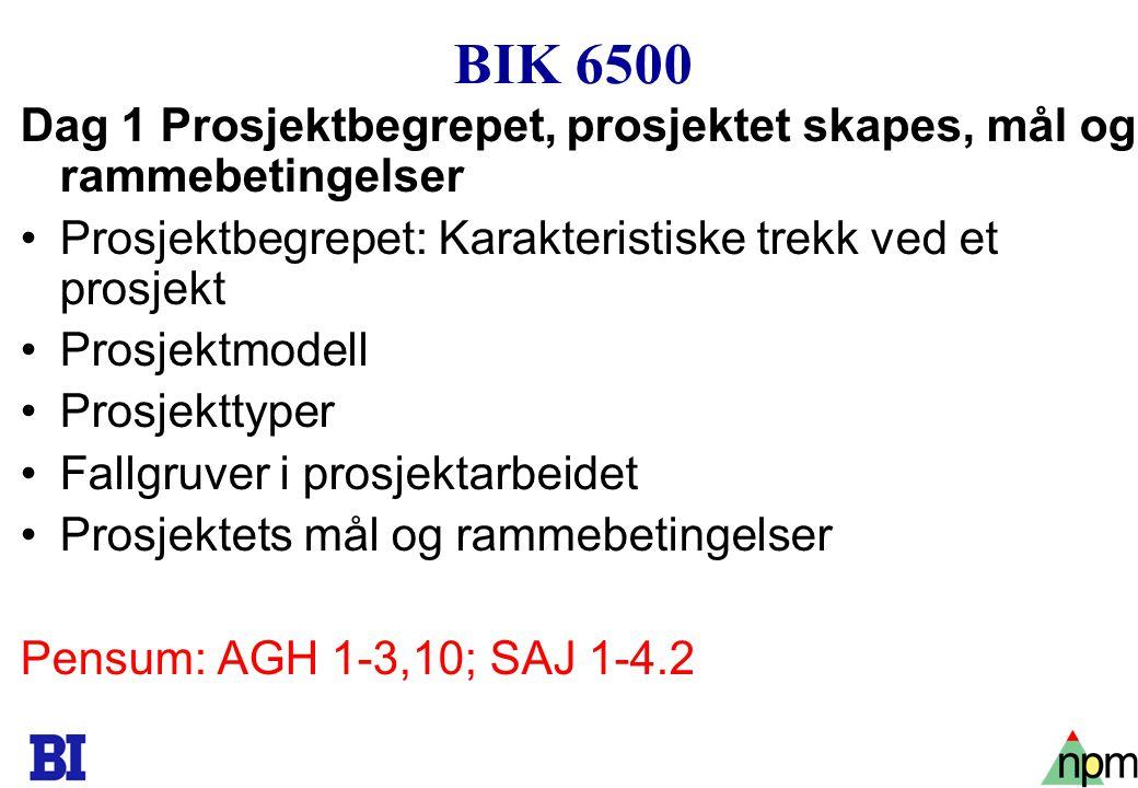 4 BIK 6500 Dag 1 Prosjektbegrepet, prosjektet skapes, mål og rammebetingelser Prosjektbegrepet: Karakteristiske trekk ved et prosjekt Prosjektmodell P