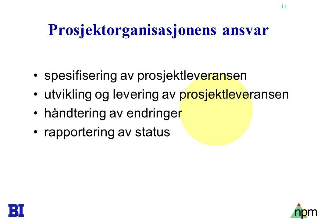 11 Prosjektorganisasjonens ansvar spesifisering av prosjektleveransen utvikling og levering av prosjektleveransen håndtering av endringer rapportering av status