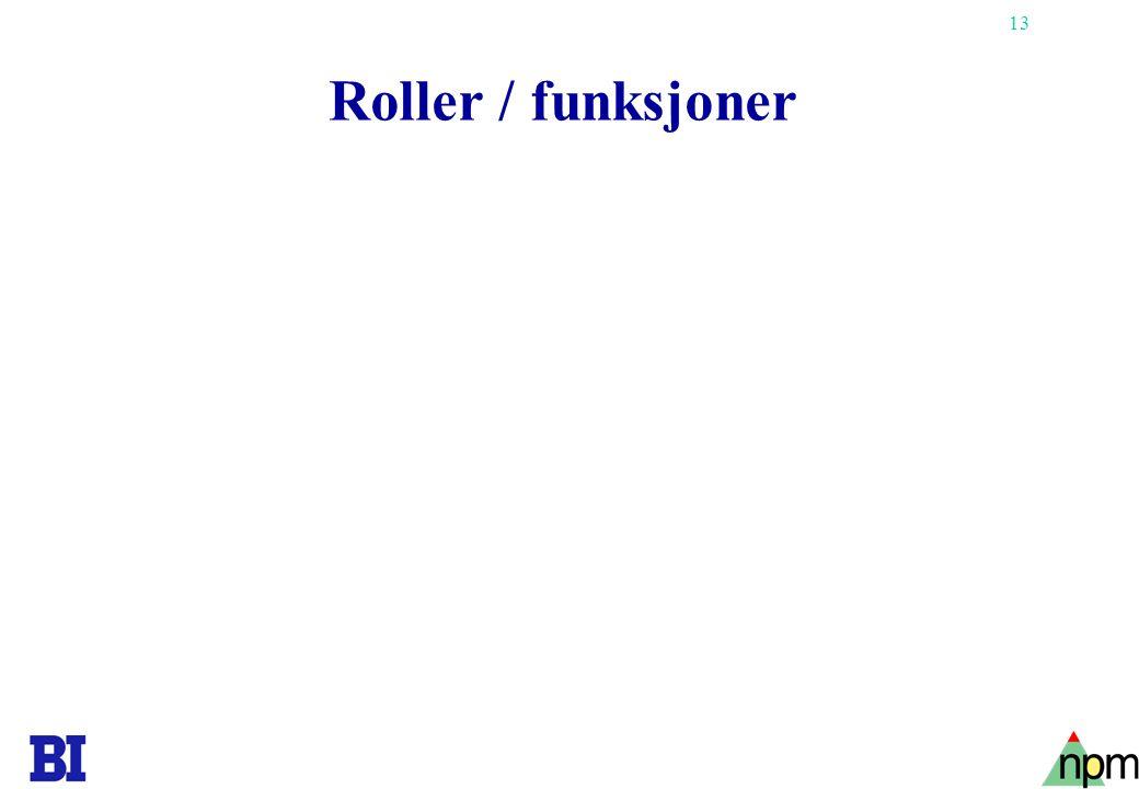 13 Roller / funksjoner