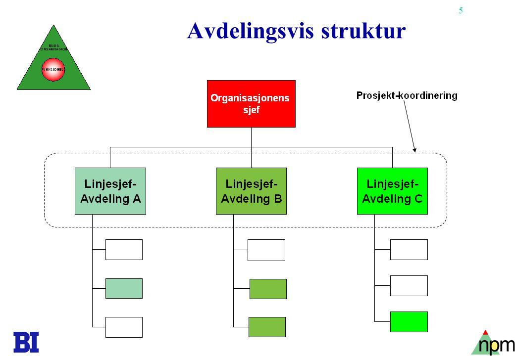 6 Matriseorganisasjon Prosjekt- koordinering
