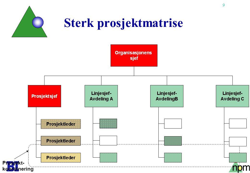 9 Sterk prosjektmatrise Prosjekt- koordinering