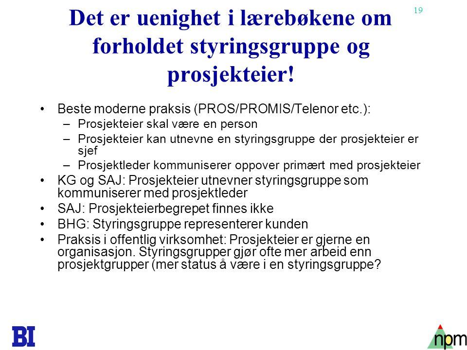 19 Det er uenighet i lærebøkene om forholdet styringsgruppe og prosjekteier! Beste moderne praksis (PROS/PROMIS/Telenor etc.): –Prosjekteier skal være