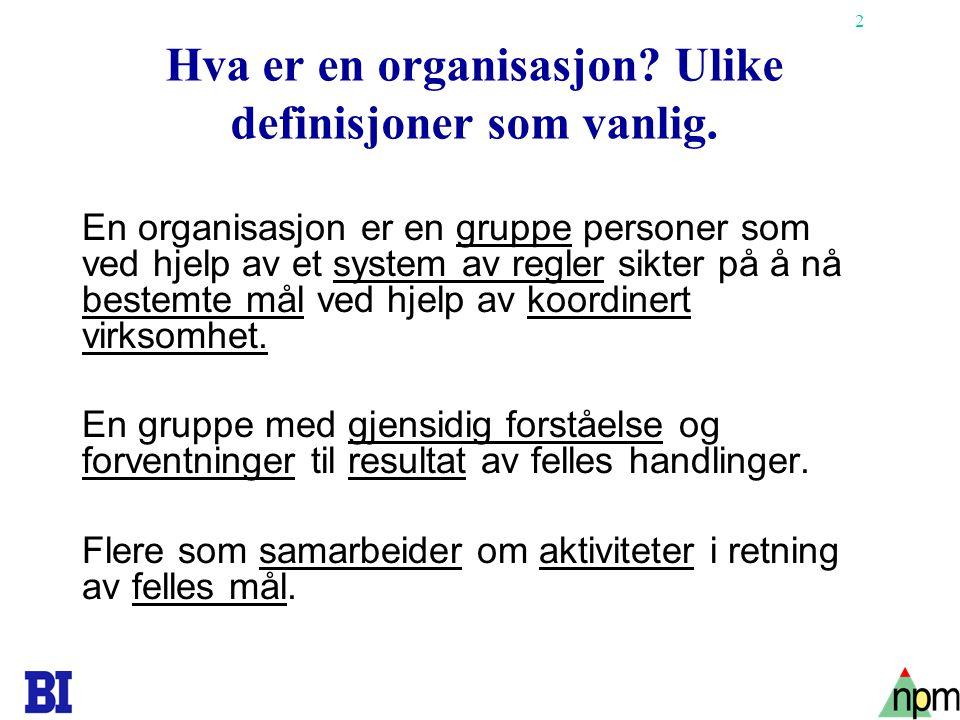 2 Hva er en organisasjon? Ulike definisjoner som vanlig. En organisasjon er en gruppe personer som ved hjelp av et system av regler sikter på å nå bes