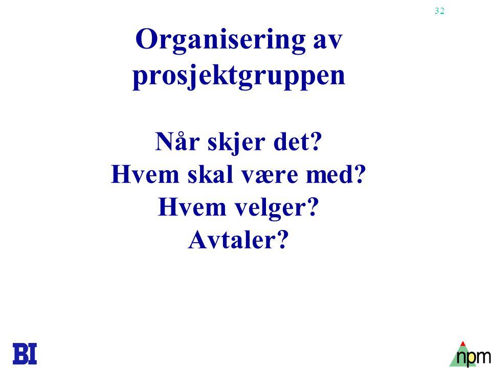 32 Organisering av prosjektgruppen Når skjer det? Hvem skal være med? Hvem velger? Avtaler?