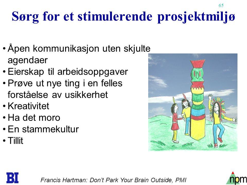 65 Sørg for et stimulerende prosjektmiljø Åpen kommunikasjon uten skjulte agendaer Eierskap til arbeidsoppgaver Prøve ut nye ting i en felles forståel