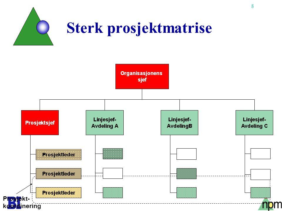 8 Sterk prosjektmatrise Prosjekt- koordinering
