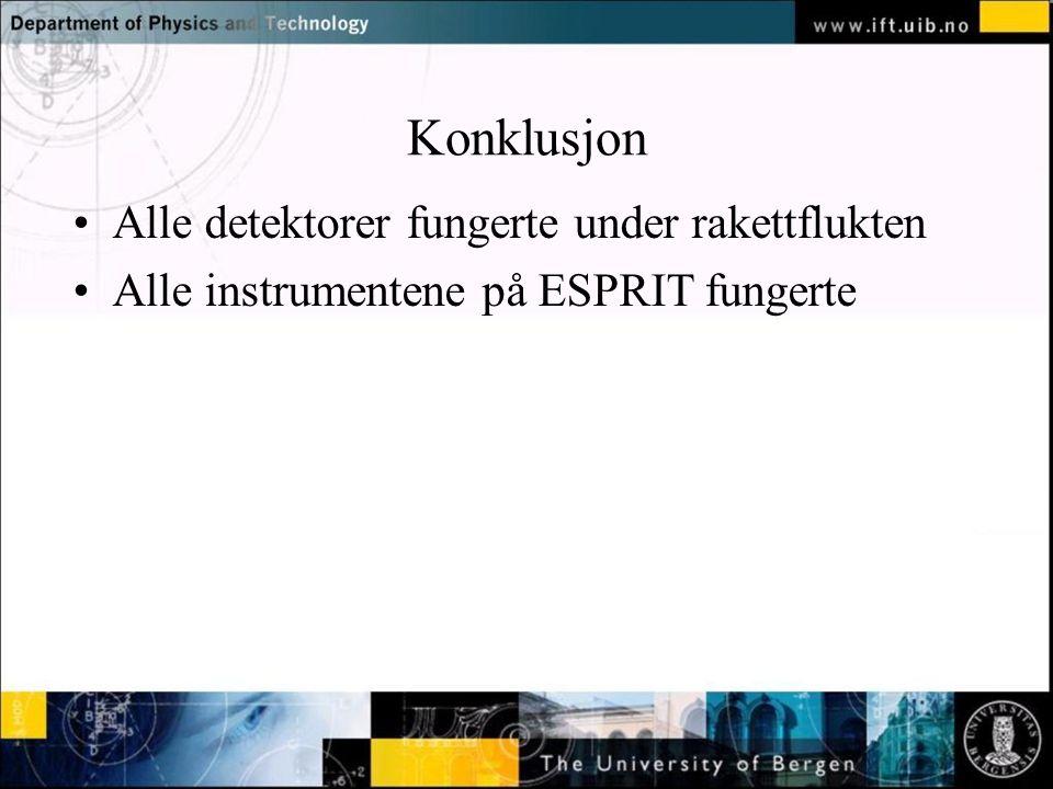 Normal text - click to edit Konklusjon Alle detektorer fungerte under rakettflukten Alle instrumentene på ESPRIT fungerte
