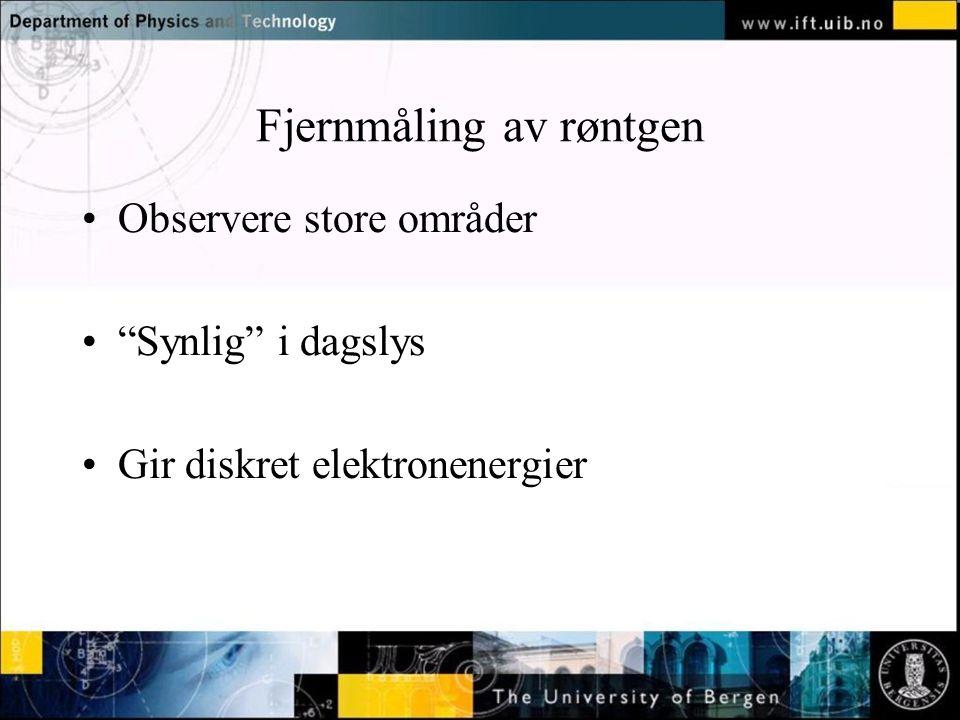 Normal text - click to edit Fjernmåling av røntgen Observere store områder Synlig i dagslys Gir diskret elektronenergier