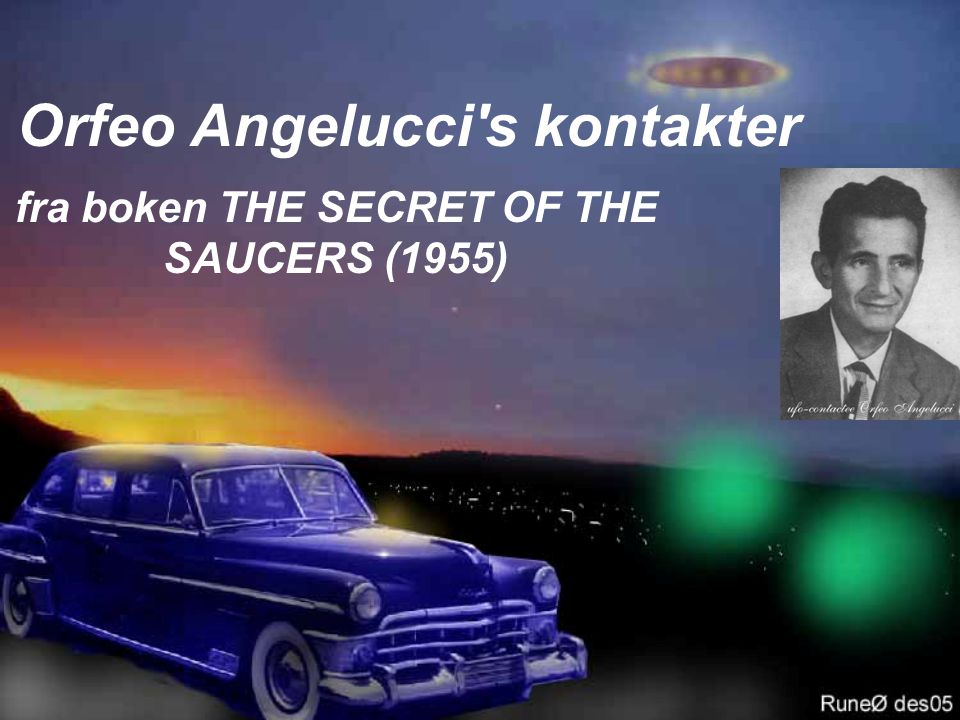 Orfeo Angelucci s kontakter fra boken THE SECRET OF THE SAUCERS (1955)