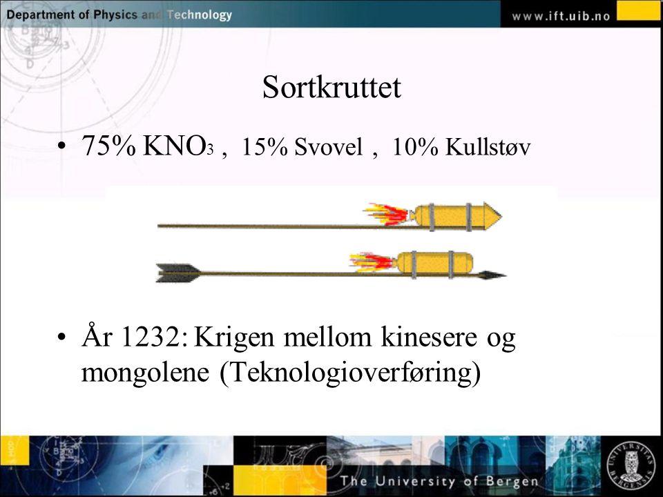 Normal text - click to edit Sortkruttet 75% KNO 3, 15% Svovel, 10% Kullstøv År 1232: Krigen mellom kinesere og mongolene (Teknologioverføring)