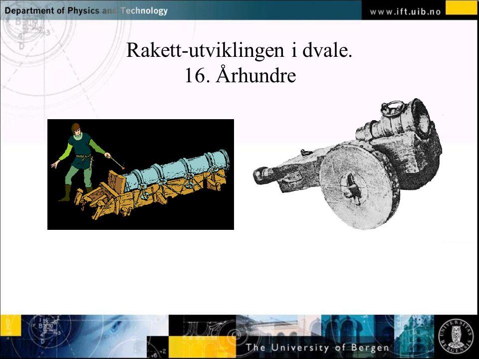 Rakett-utviklingen i dvale. 16. Århundre