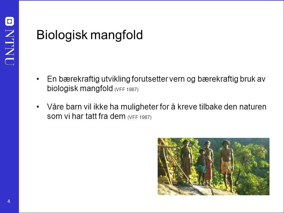 4 Biologisk mangfold En bærekraftig utvikling forutsetter vern og bærekraftig bruk av biologisk mangfold (VFF 1987) Våre barn vil ikke ha muligheter f