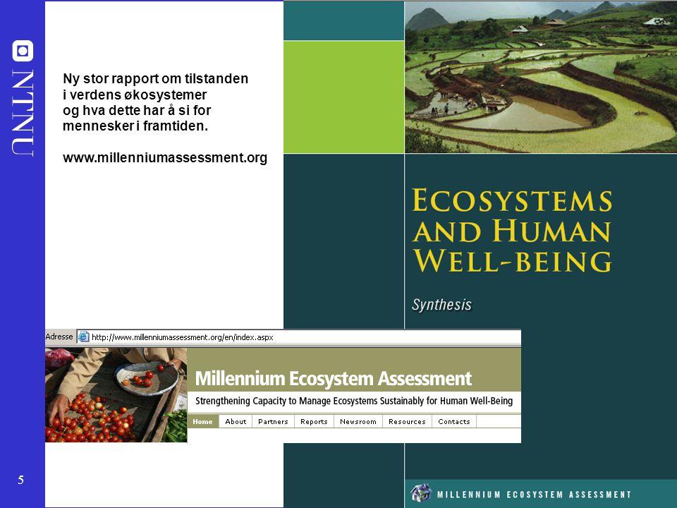5 Ny stor rapport om tilstanden i verdens økosystemer og hva dette har å si for mennesker i framtiden. www.millenniumassessment.org