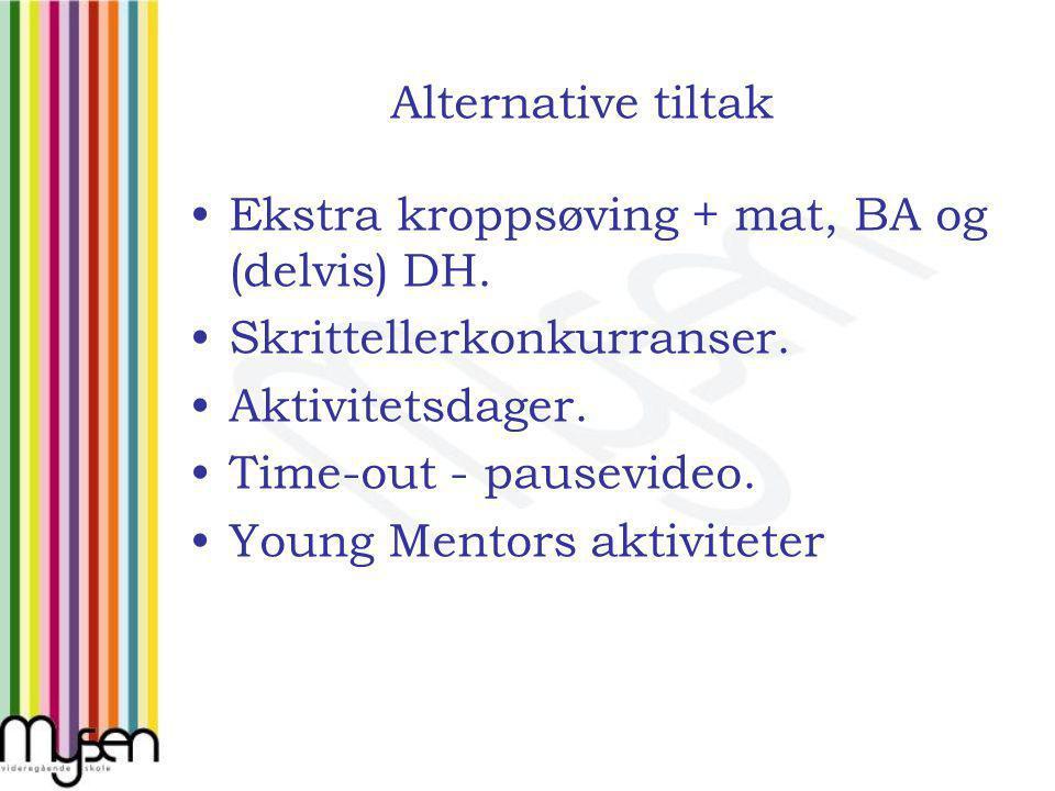 Alternative tiltak Ekstra kroppsøving + mat, BA og (delvis) DH.