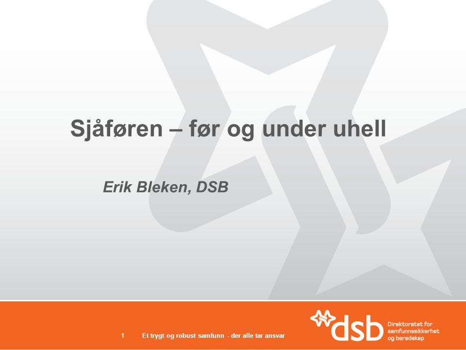 Et trygt og robust samfunn - der alle tar ansvar1 Sjåføren – før og under uhell Erik Bleken, DSB