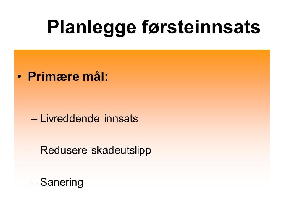 Planlegge førsteinnsats Primære mål: –Livreddende innsats –Redusere skadeutslipp –Sanering
